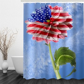 3D Blue Background with Flower Printed Polyester Waterproof and Eco-friendly Shower Curtain