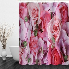 Pink Flowers Polyester Waterproof and Eco-friendly 3D Shower Curtain
