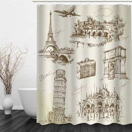 3D Beige Background with Well-known Buildings Polyester Waterproof and Eco-friendly Shower Curtain
