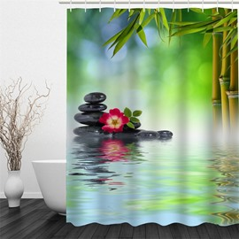3D Green Bamboos and Stones in Lake Polyester Waterproof and Eco-friendly Shower Curtain