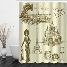 3D Beige Background with Paris Printed Polyester Waterproof and Eco-friendly Shower Curtain