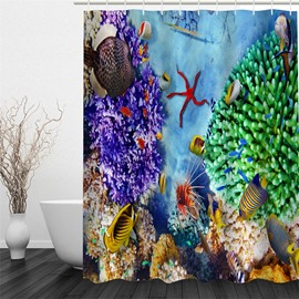 3D Colorful Creatures in Seabed Pattern Polyester Waterproof and Eco-friendly Shower Curtain