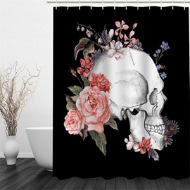 3D Black Background with Skeleton and Flowers Printed Polyester Waterproof Eco-friendly Shower Curtain