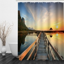 3D Tranquil Lake Surface in Sunset Pattern Polyester Waterproof and Eco-friendly Shower Curtain