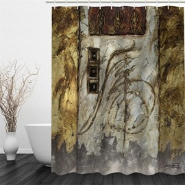 Door Pattern Vintage Style 3D Polyester Waterproof and Eco-friendly Shower Curtain