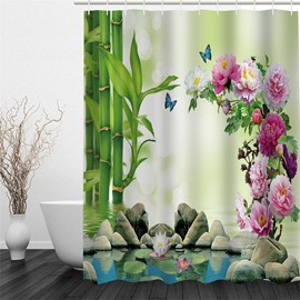 3D Peonies Stones and Bamboos beside Lake Polyester Waterproof and Eco-friendly Shower Curtain