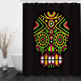 3D Skull Pattern Polyester Waterproof and Eco-friendly Black Shower Curtain
