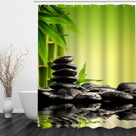 3D Green Bamboos and Black Stones Polyester Waterproof and Eco-friendly Shower Curtain