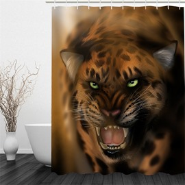 3D Roaring Leopard Polyester Waterproof and Eco-friendly Shower Curtain