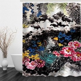 3D Peonies and Chickens Pattern Polyester Waterproof and Eco-friendly Shower Curtain