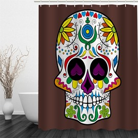 Plants Decorating Skull Pattern Polyester Waterproof and Eco-friendly 3D Brown Shower Curtain