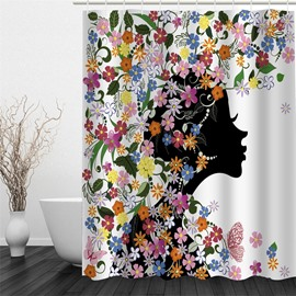 Girl towards Right Surrounded by Flowers Polyester Waterproof and Eco-friendly 3D Shower Curtain