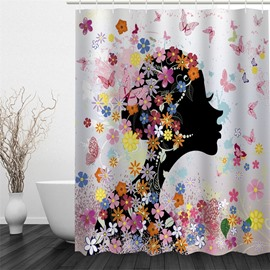 Flowers and Butterflies Surrounding Girl Polyester Waterproof and Eco-friendly 3D White Shower Curtain