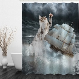 3D Cat and Yacht in Sea Polyester Waterproof and Eco-friendly Shower Curtain