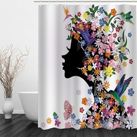 Colorful Flowers Surrounding Girl Pattern Polyester Waterproof and Eco-friendly 3D Shower Curtain