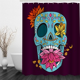 Blue Skull with Plants Polyester Waterproof and Eco-friendly 3D Shower Curtain