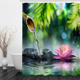 3D Lotus and Stones Pattern Polyester Waterproof and Eco-friendly Shower Curtain