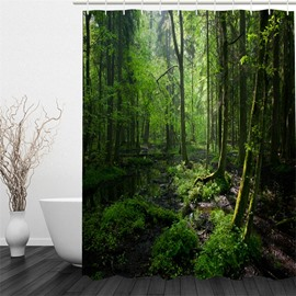 Green Forest Pattern Polyester Waterproof and Eco-friendly 3D Shower Curtain