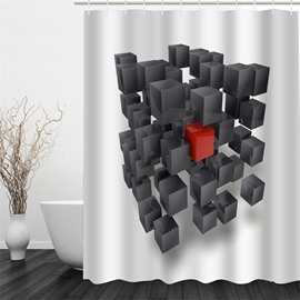 Black and Red Rectangle Cubes Polyester Waterproof and Eco-friendly 3D White Shower Curtain