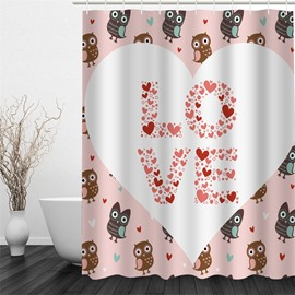 Heart-Shaped Love Pattern Polyester Waterproof and Eco-friendly 3D Shower Curtain