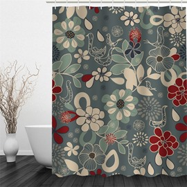 Green Background with Plants Polyester Waterproof and Eco-friendly 3D Shower Curtain