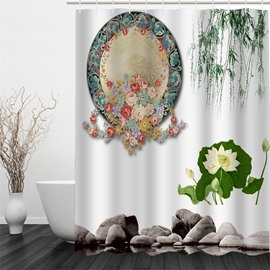 3D Mirror Flowers and Leaves Polyester Waterproof and Eco-friendly White Shower Curtain
