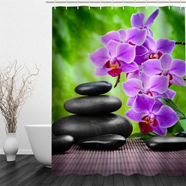 3D Purple Flowers and Black Stones Polyester Waterproof and Eco-friendly Shower Curtain