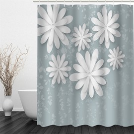 3D White Flowers Printed Polyester Waterproof and Eco-friendly Shower Curtain