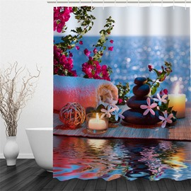 3D Flowers Stones Candles and Towel Polyester Waterproof and Eco-friendly Shower Curtain