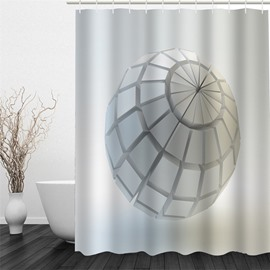3D White Plaid Ball Pattern Polyester Waterproof and Eco-friendly Shower Curtain