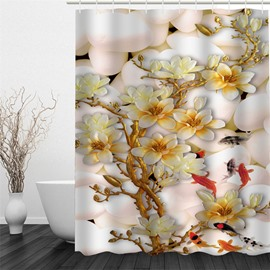 3D White Flowers Pattern Polyester Waterproof and Eco-friendly Shower Curtain