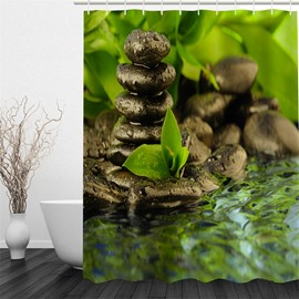 3D Stones and Stream Printed Polyester Waterproof and Eco-friendly Shower Curtain