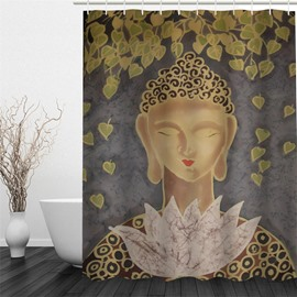 3D Buddha and Lotus Pattern Polyester Waterproof and Eco-friendly Shower Curtain