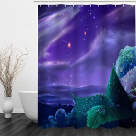 3D Purple Galactic Sky Printed Polyester Waterproof and Eco-friendly Shower Curtain