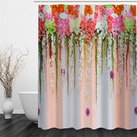 3D Colorful Flowers Printed Polyester Waterproof and Eco-friendly Shower Curtain