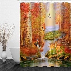 3D Stream Flowing through Yellow Forest Printed Polyester Waterproof and Eco-friendly Shower Curtain