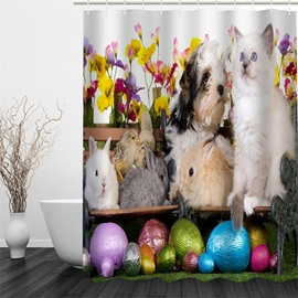 3D Kitten Rabbit and God Printed Polyester Waterproof and Eco-friendly Shower Curtain