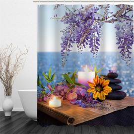 3D Diverse Flowers Candles and Lake Pattern Polyester Waterproof and Eco-friendly Shower Curtain