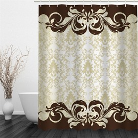 3D Beige and Brown Floral Pattern Polyester Waterproof and Eco-friendly Shower Curtain