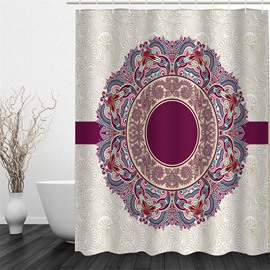 3D Round Floral Pattern Polyester Waterproof and Eco-friendly White Shower Curtain