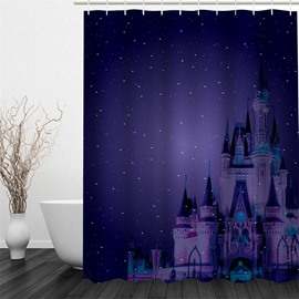 3D Castle in Blue Galactic Sky Polyester Waterproof and Eco-friendly Shower Curtain