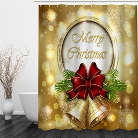 3D Merry Christmas Printed Polyester Waterproof and Eco-friendly Shower Curtain