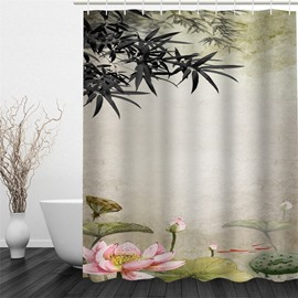 3D Pink Lotus and Leaves Pattern Polyester Waterproof and Eco-friendly Shower Curtain