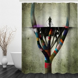 3D Colorful Branches Printed Polyester Waterproof and Eco-friendly Shower Curtain