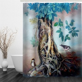 3D Birds and Old Branch Pattern Polyester Waterproof and Eco-friendly Shower Curtain