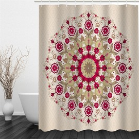 3D Floral Pattern Round Polyester Waterproof and Eco-friendly Shower Curtain