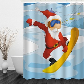 3D Skiing Christmas Father Polyester Waterproof and Eco-friendly Shower Curtain