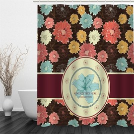 3D Colorful Flowers Printed Vintage Style Polyester Waterproof and Eco-friendly Shower Curtain