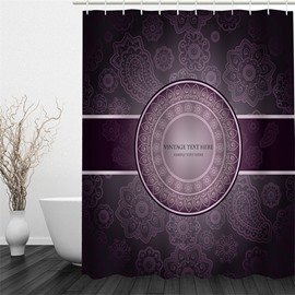 3D Floral Pattern Vintage Style Polyester Waterproof and Eco-friendly Shower Curtain