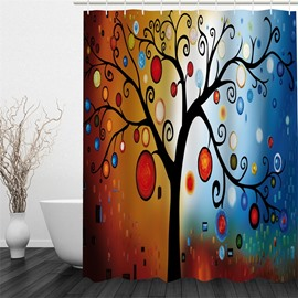 3D Tree with Colorful Leaves Printed Polyester Waterproof and Eco-friendly Shower Curtain
